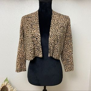 Short Cropped Leopard Print Cardigan - Small